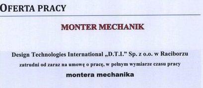 Oferta pracy dla mechanika montera