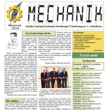 """Nowy numer gazetki szkolnej """"Mechanik"""""""