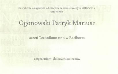 Stypendium Ministra Edukacji Narodowej dla Patryka Ogonowskiego