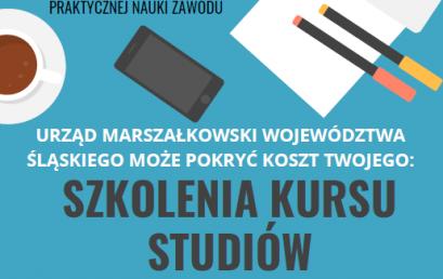 """Ogłoszenie dotyczące terminu naboru wniosków szkoleniowych kadry pedagogicznej nr 1/2020  w ramach projektu """"Śląskie. Zawodowcy"""""""